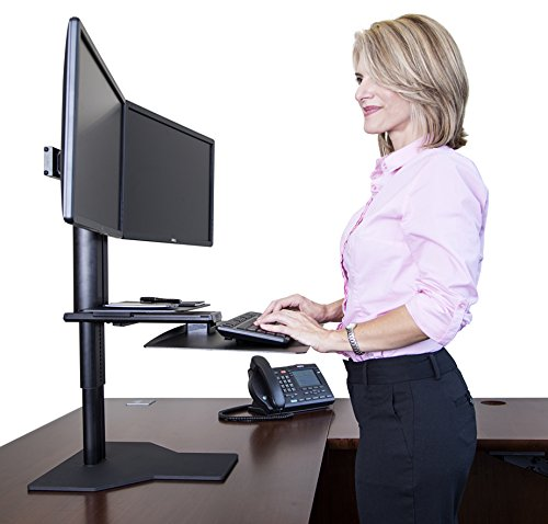Uprite Ergo Sit2Stand Desktop Height Adjustable Workstation - Dual Monitor - Black/Black by Uprite Ergo
