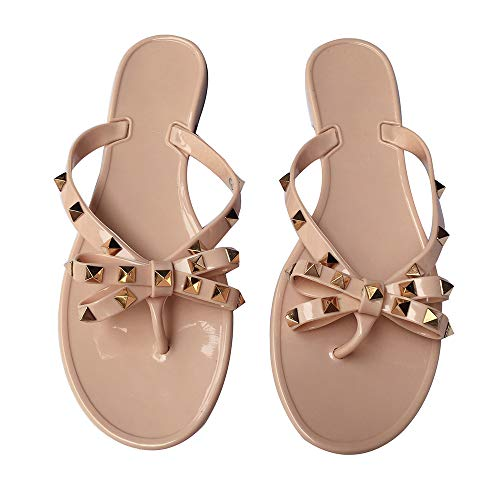 - Luobote Women Bow Flip-Flops Rivet Stud Flat Sandals Beach Jelly Slip On Thong Shoes Nude