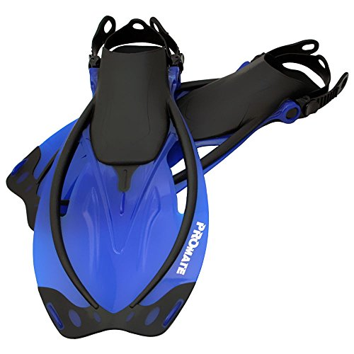 Open Heel Snorkeling Fins - Promate Wave Snorkeling Open Heel Fins, Blue, ML/XL