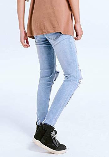 Ragazzo Slim Fori Strappati Pantaloni Con Chern In Blau Jeans Denim Vintage Comodi Da Fit Uomo wxaYnWqvB
