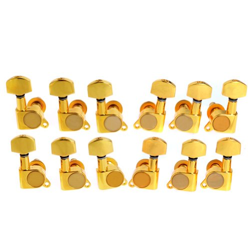 12pcs K-803 Guitar String Tuning Pegs Tuners Machine Heads Gold 6L6R from Kmise