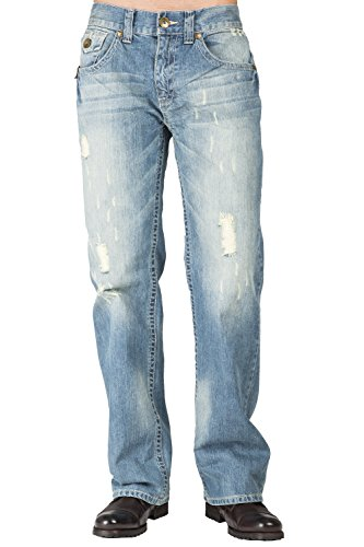Trim Tint Base - Level 7 Men's Relaxed Straight Leg Khaki Tint Light Blue Premium Denim Jeans Zipper Trim Pockets Size 34