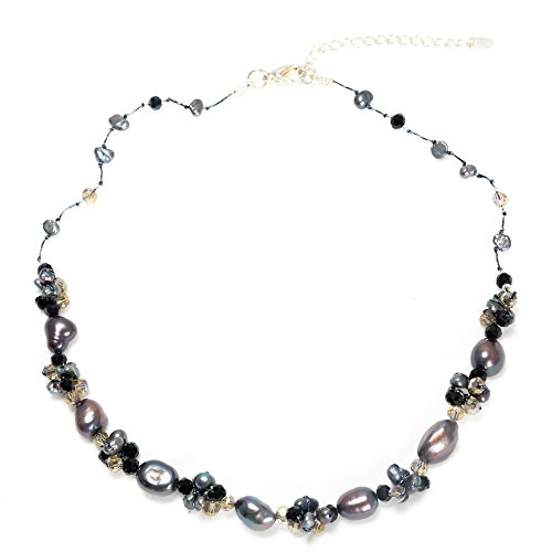 Silk Thread Gray Cultured Freshwater Pearl Beads Black Crystal Cluster Necklace, 17