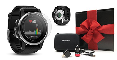 Garmin fenix 5S (Silver with Black Band) GIFT BOX Bundle | Includes HD Screen Protector, PlayBetter USB Car/Wall Adapter & Hard Case | Multi-Sport GPS Fitness Watch, Wrist-HR | Black Gift Box by PlayBetter