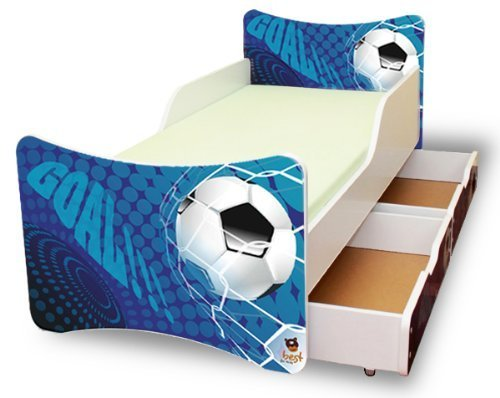 BEST FOR KIDS KINDERBETT 90x200 MIT ZWEI SCHUBLADEN GOAL