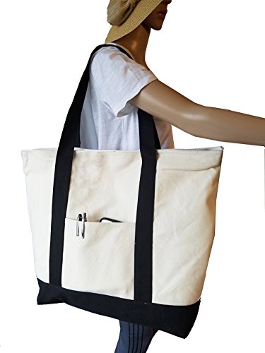 ImpecGear Shoulder Bag 22 Deluxe Heavy Duty Zippered Cotton Canvas Tote Bag