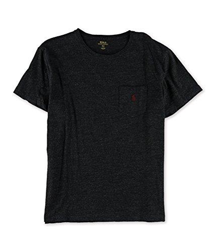 Polo Ralph Lauren Men's Short Sleeve Cotton Crewneck Jersey Pocket T-Shirt (Small, Black Marl Heather)