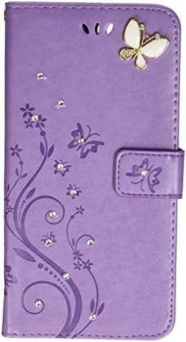 Auroralove Handmade Rhinestone Butterfly Women Purple