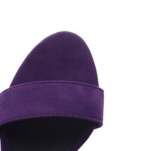 Couleur Unie Boucle Violet Correct à Femme AgooLar Dépolissement Sandales Talon GMBLA012817 X0USxwY