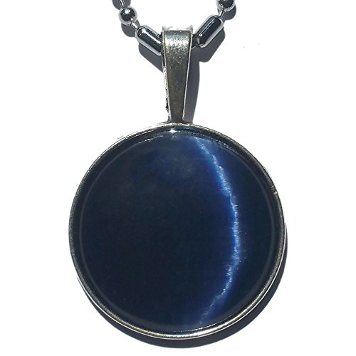 s Cat's Eye Pendant Necklace (Navy Blue) (Cats Eye Round Necklace)