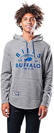 Ultra Game NFL Buffalo Bills Mens Fleece Hoodie Pullover Sweatshirt Vintage Logo, Gray Snow, Large