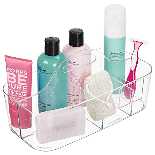 mDesign Plastic Portable Storage Organizer Caddy Tote - Divided Basket Bin with Handle for Bathroom, Dorm Room - Holds Hand Soap, Body Wash, Shampoo, Conditioner, Lotion - Large - Clear