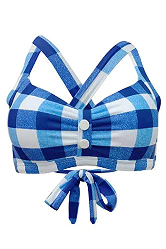 futurino Women's Vintage 50s Plaid Pattern Halter Bikini Top Swimsuits (Best Swimsuits For Bust Support)
