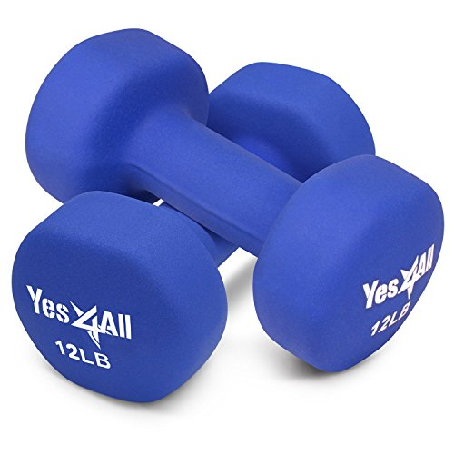 Clear Body Set (Yes4All 12 lbs Dumbbells Neoprene with Non Slip Grip – Great for Total Body Workout – Total Weight: 24 lbs (Set of 2))