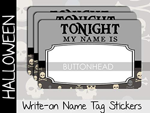 Halloween Party Name Tags Stickers - Adult Halloween Party Games Favors (Set of 10)]()