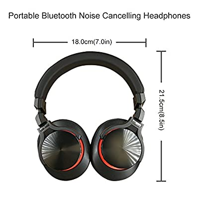 Active Noise Cancelling Headphones,Bluetooth Headphones with Microphone, Over-ear Deep Bass Wireless Hi-Fi Stereo Headphones for Cell Phone/ TV/ PC - Red