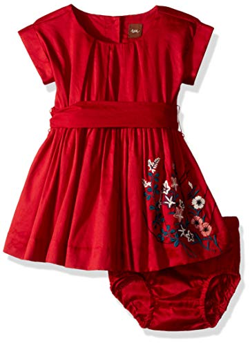 Tea Collection Girls' Akira Embroidered Baby Dress, China Red, 6-9 Months