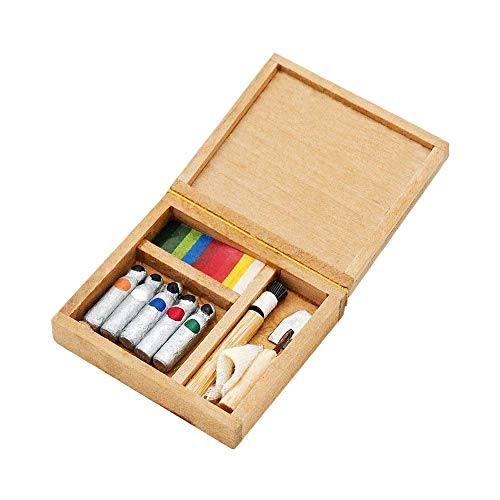 Miniature Art Accessories - Odoria 1:12 Miniature Pigment Box Art Box for Painting Dollhouse Decoration Accessories