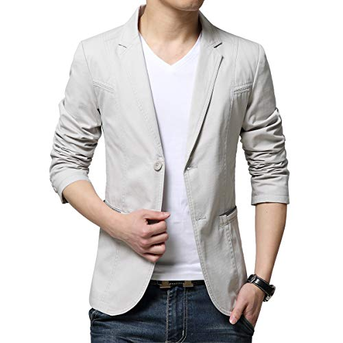 KIMILILY Sports Jacket for Men Cotton Blazer Jackets Two Button Casual Suit Coats Cream