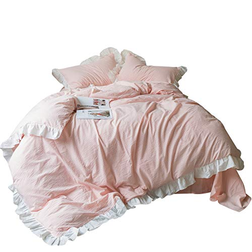 SUSYBAO 3 Pieces Ruffle Duvet Cover Set 100% Natural Washed Cotton King Size Pink white Stripe Rural Romantic Sweet Girls Bedding with Zipper Ties 1 Duvet Cover 2 Pillow Shams (Stripe King Ruffle)