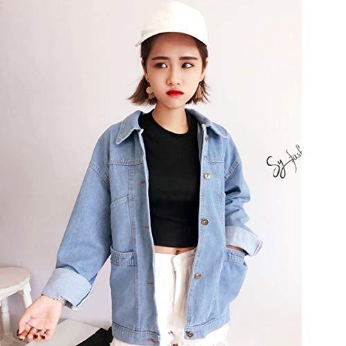 Estilo Coreano Señoras Classic Denim Coat Tops de Corte Relajado Chaqueta Jean de Manga Larga Turn-Down Collar Outwear Azul Claro: Amazon.es: Deportes y ...