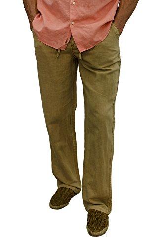 Short Fin Men's Drawstring Linen Pants (36X32, Khaki 100% Linen L8022L)