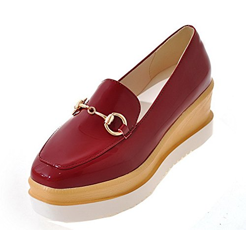 Women's Heels WeiPoot Patent Toe Square Pumps Leather Closed Shoes Claret Kitten CXwqd6w