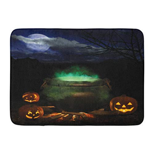 Emvency Doormats Bath Rugs Outdoor/Indoor Door Mat Witch Halloween Night Bubbling Iron Cauldron Orange Pumpkin Jack O Lanterns and Full Moon Brew Bathroom Decor Rug Bath Mat 16
