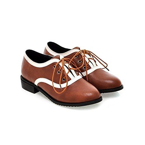 ZHZNVX Zapatos de tacón plano ajustables a juego de tacón bajo de mujer de otoño inglaterra nueva Inglaterra redondo brown