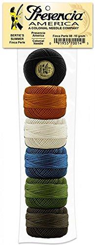 (Presencia Pearl Cotton Thread Sampler - Sashiko, Embroidery & Quilting - Bertie's Summer Sampler - Size 8 - 6 Colors - 77 yard balls)