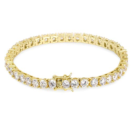 - KRKC&CO 4mm Tennis Bracelet, Single Row Iced Out Tennis Bracelet, Prong Setting with Hand-Selected 5A CZ Stones, Urban Street-wear Hip Hop Jewelry for Rappers Size 7 8 9 (Gold, 9)