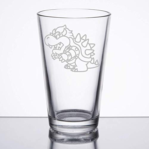 Super Mario Bros - Bowser - Etched Pint Glass