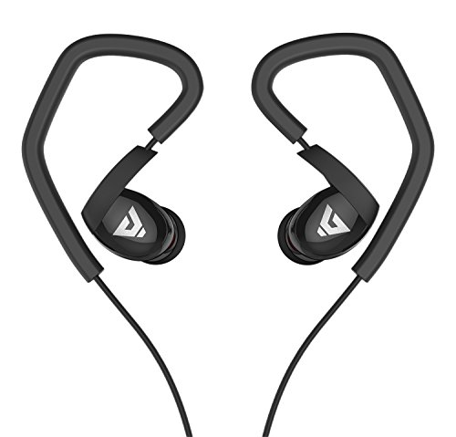 Sound Intone K6 Sport Ohrhörer In-ear Kopfhörer mit Mikrofon und Lautstärkeregelung kompatibel mit PC/Smart Phone/iPhone/Samsung/HTC/Android (Schwarz)