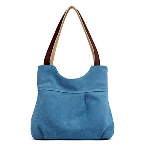 De Delgado Mano Tamaño Mediano Mujer Blue Playa Bolso Blue Para Compras color Lona Kamiwwso aCxWHqEn5x