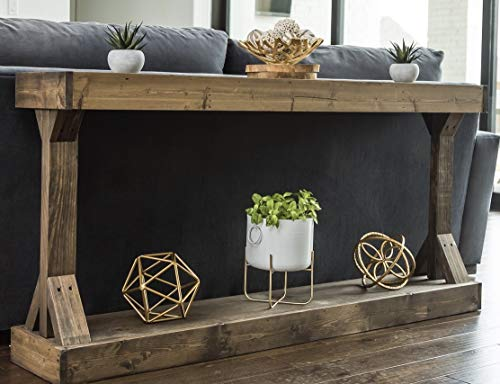 Barb Large Console Table Solid Wood by Del Hutson Designs (Dark Walnut) - Sturdy Construction Adds Rustic Contemporary Style Fully Assembled and Ready to Enjoy! Made in Texas, USA! - living-room-furniture, living-room, console-tables - 41pzDakrZvL -