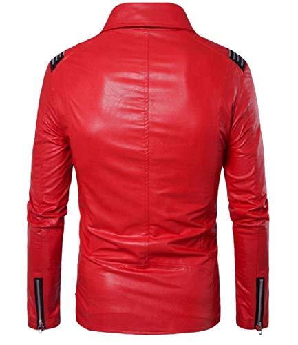 Modo Gira Rosso giù Di Moto Cappotto Del Uomini Del Cuoio Rivestimento Xinheo Sottile Di Casuale Ta01q8w