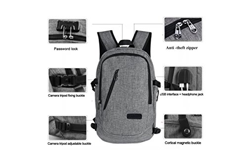 Multipurpose Laptop Backpack for adults and teenager - Student, Traveller and Business people with antitheft, waterproof polyester and USB Charging Port. Lightweight, Cheap but Fancy, Unisex. - Oakleys Cheap Kids For