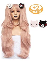 Hair+Cap Light Pink Cosplay Wig Long Synthetic Wig For Girls Costume Party Costume Party Halloween Wig With Hair Accessory