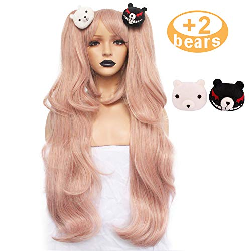 Anogol Hair+Cap Light Pink Cosplay Wig Long Synthetic Wig For Girls Costume Party Costume Party Halloween Wig With Hair Accessory