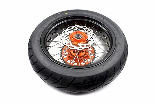 KKE KTM SUPERMOTO WHEELS RIMS SET KIT & TIRE EXC SX XCW XCF 125 250 350 530 3.5/5.0 SUPERMOTO WHEEL SET WITH TIRE & DISC by KKE (Image #1)