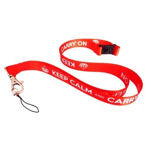 KEEP CALM and CARRY ON super vibrant and detailed Neck Strap satin Lanyard with Metal lobster claw clasp and Safety Breakaway - ideal for mobile, id, keys, ipod or mp3