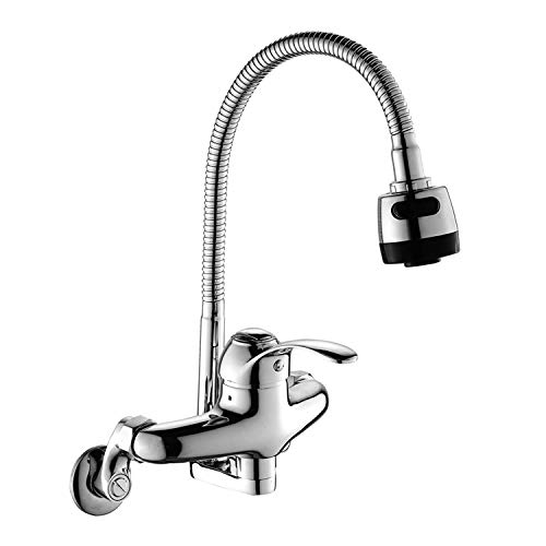 Wall Mount Faucet Kitchen6 Inch 3-9 Inch Center with Sprayer Polished Chrome Commercial Single Handle Mixer Pull Out Tap (Kitchen Sink Mixer Faucet)