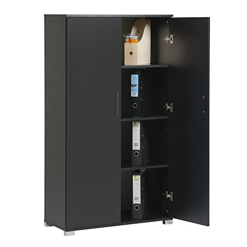MMT Black 2 Door Bookcase Pantry Cabinet Tall Cupboard/Office Storage Filing Cabinet - Office Furniture, 4 Shelves - 31.5