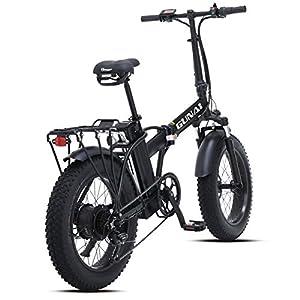 GUNAI Vélo électrique Fat Bike 500W-48V-15Ah Li-Batterie 20 * 4.0 VTT Cadre en Alliage d'aluminium et écran LCD étanche avec siège arrière(Noir)