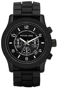 Michael Kors MK8181 - Reloj con correa de caucho para hombre, color negro / gris