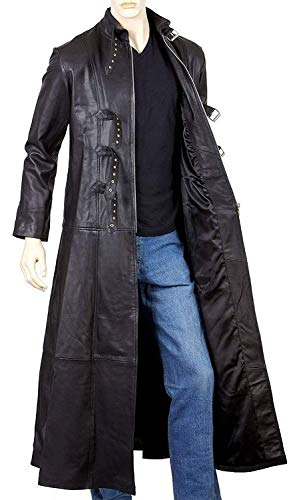 7 Designs Available - Real Lambskin Leather Trench Coat Men - Winter Special (Large - Jacket Chest 48