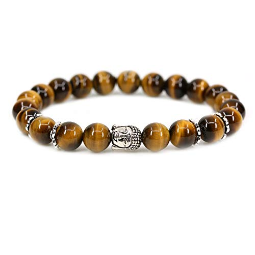 (Natural AA Grade Golden Tiger Eye with 925 Sterling Silver Buddha Head Gemstone 8mm Round Beads Stretch Bracelet 7
