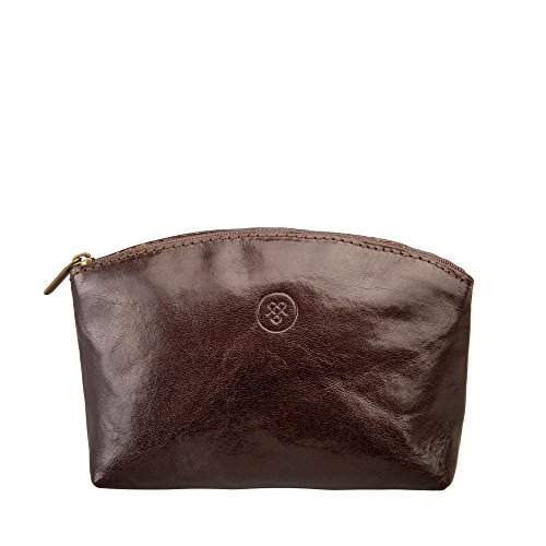 Maxwell Scott Personalized Luxury Brown Leather Cosmetic Bag (Chia) - One Size by Maxwell Scott Bags