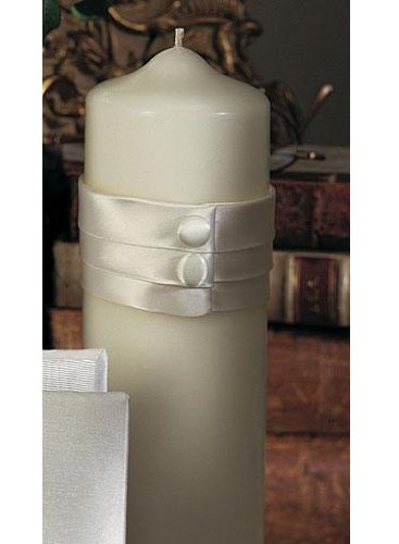 Audrey Collection Pillar Candle IVORY by Beverly Clark Wedding Accessories
