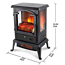 LIFE SMART Quartz Infrared Electric Fireplace Stove Heater with Remote Control - Electric Space Heater with Adjustable Thermostat for Office and Home 1500W from LIFE SMART
